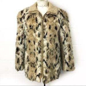 Lifestyle 80s Andrea Ungar Leopard Faux Fur Jacket